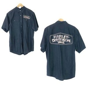 HARLEY-DAVIDSON SOFT BLUE BUTTON DOWN WITH PATCHES